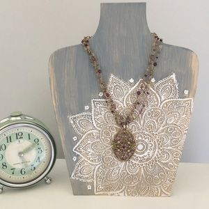 Fall Colors Jeweled Statement Pendant Necklace
